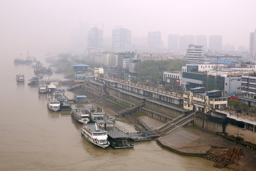 Smoke in air at Wuhan, China from