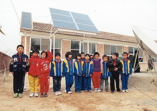 solar panels & kids in China