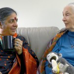 Dr. Vandana Shiva, left, and Dr. Jane Goodall, both are delegates to the International Women's Earth and Climate Summit, talk before the opening of the summit. Photo credit: Lori Waselchuk