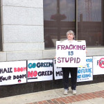 A fracking protester in Pennsylvania displays a sentiment many in the state agree with, including Food & Water Watch, which launched a campaign to pressure candidates to commit to a fracking moratorium as the primary election approaches. Photo credit: Food & Water Watch/Facebook