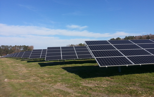 Pocomoke SunEdison solar panels field blue sky