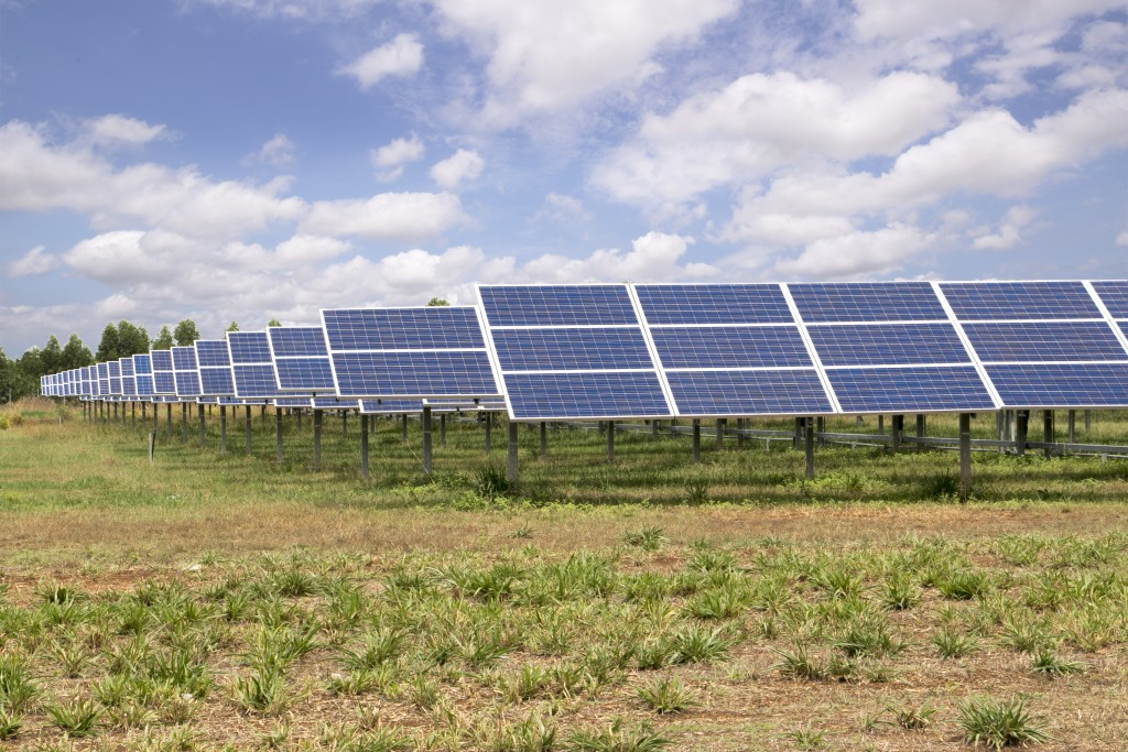 Solar panesl farm under blue sky